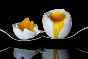 egg, eggs, soft-boiled egg on spoon