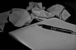 pen, pad, crunched paper, pen pal
