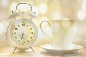 time, alarm clock, coffee mug, early morning