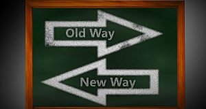 old way new way arrow signs