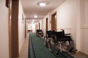 Wheelchairs in hallway