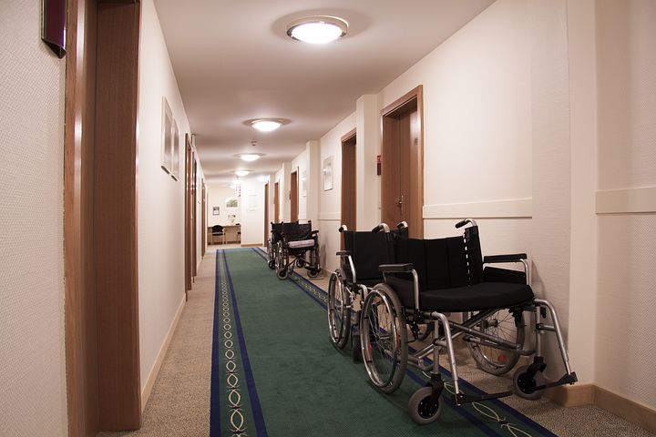 Wheelchairs in hallway